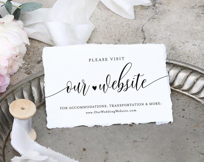 Wedding Website Insert Card, 100% Editable Template, Rustic Wedding Detail, Accommodation, Printable Enclosure, INSTANT DOWNLOAD #008-126EC