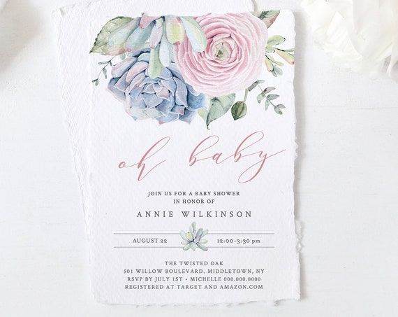 Succulent Baby Shower Invitation Template, Printable Baby Shower Invite,  INSTANT DOWNLOAD, 100% Editable Text, Boho Cactus, DIY #041-114BA