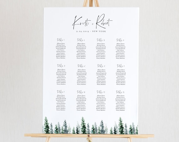 Pine Tree Seating Chart Template, Wedding Seating Sign, Alphabetical & Table Number Order, 100% Editable Text, INSTANT DOWNLOAD #073-231SC