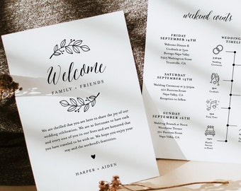 Rustic Welcome Letter & Timeline Template, Wedding Order of Events and Itinerary Icons, INSTANT DOWNLOAD, Editable Text, Templett #039-145WB