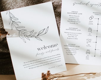 Laurel Welcome Letter & Timeline Template, Fine Art Wedding Order of Events, Itinerary, INSTANT DOWNLOAD, 100% Editable Text #0006B-152WB