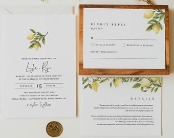 Citrus Lemon Wedding Invitation Set, Summer Wedding Invite, Details, RSVP, Editable Template, Printable, Instant Download, Templett #089B