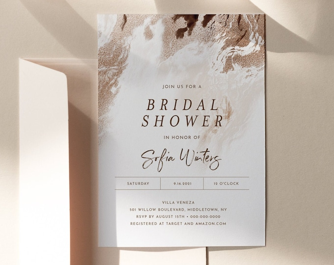Agate Shower Invitation Template, Earthy Geode Wedding Shower Invite, Bronze Gold, Editable Text, Printable, INSTANT DOWNLOAD #098A-261BS