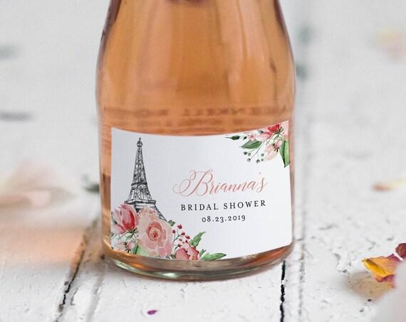 Mini Champagne Bottle Template, Paris Wine Label, Wedding / Bridal Shower Sticker, Eiffel Tower, Instant Download, Templett #001-107ML