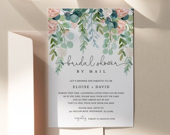 Bridal Shower by Mail Template, Social Distance Bridal Shower Invitation, Lush Garden, Editable, Instant Download, Templett #068A-267BS