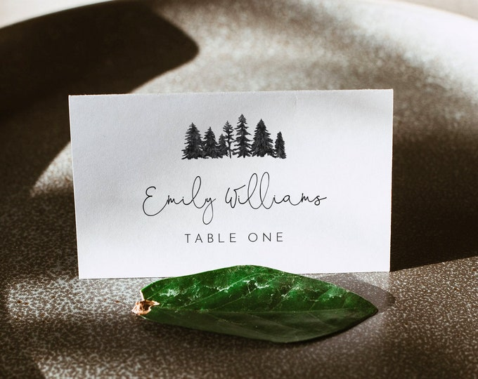 Pine Wedding Place Card Template, 100% Editable, Printable Woodland Mountain Escort Card, Name Card, Templett, Flat and Tent #0015-176PC