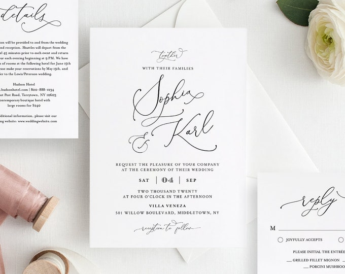 Minimalist Wedding Invitation Set, Modern, Classy, Elegant, 100% Editable Template,INSTANT DOWNLOAD, Invite, RSVP, Details, Templett #092A