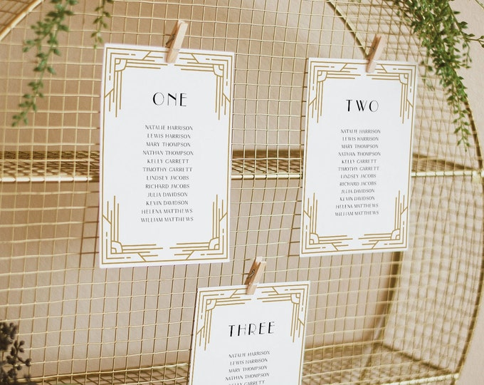 Art Deco Seating Chart Template, Minimal retro Wedding Seating Plan, Hanging Cards, 100% Editable, Instant Download, Templett #0021-140SP