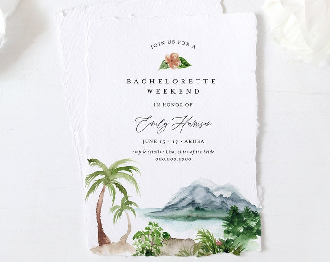 Tropical Bachelorette Weekend Invitation & Itinerary, Beach, Destination, Palm, Editable Template, Printable, Templett, Instant #017-137BP
