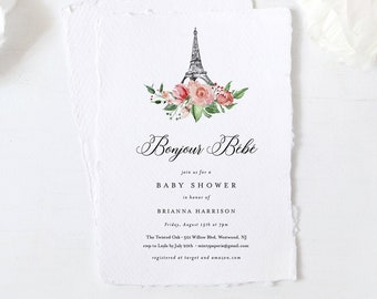 Paris Baby Shower Invitation Template, Bonjour Bebe, Printable French Baby Shower, Editable Text, INSTANT DOWNLOAD, Templett #001-141BA