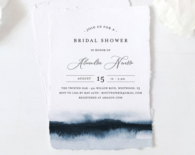 Navy Bridal Shower Invitation Template, Watercolor Wedding Shower Invite, INSTANT DOWNLOAD, Editable, Printable, Simple Modern #093A-256BS