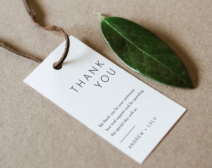Minimalist Favor Tag for Bridal Shower or Wedding, Editable Modern Thank You Tag, Simple & Clean, Instant Download, Templett #094-157FT
