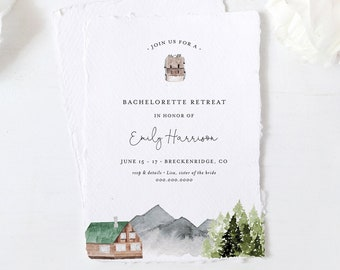 Bachelorette Retreat Weekend Invitation & Itinerary, Mountain, Wilderness, Glamping, Cabin, Lake, Editable Template, Templett #017-136BP