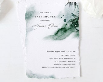 Baby Shower Invitation Template, Mystic Waters, Emerald Watercolor, Lake Baby Shower, Editable, DIY, Templett, INSTANT DOWNLOAD #0002-169BA