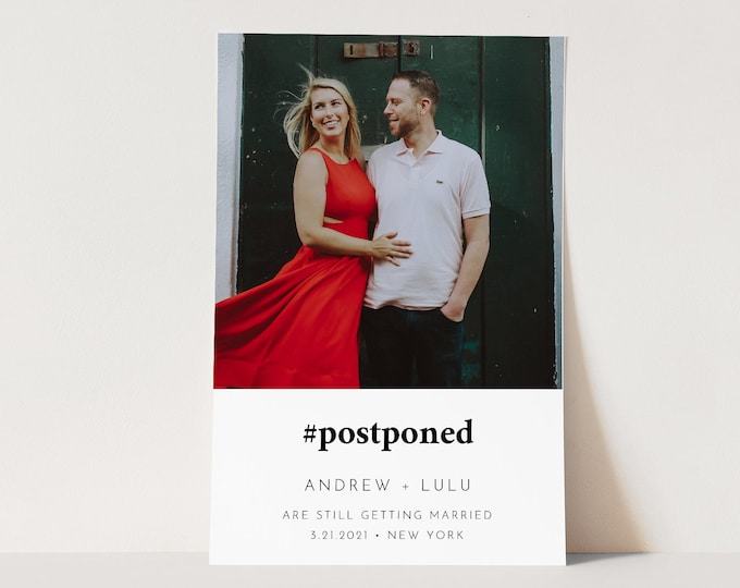 Photo Postponed Wedding Date Postcard, #Postponed, Minimalist Change of Date Announcement, 100% Editable, Instant Download #094-112PA2