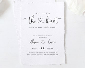 Elopement Invitation, We Tied the Knot, Minimalist Wedding Reception Party Invite, Editable Template, INSTANT DOWNLOAD, Templett #125EL