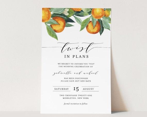 Postponed Announcement, Twist In Plans, Orange Wedding, Printable Change in Plans, Editable Template, Instant Download, Templett #084-123PA