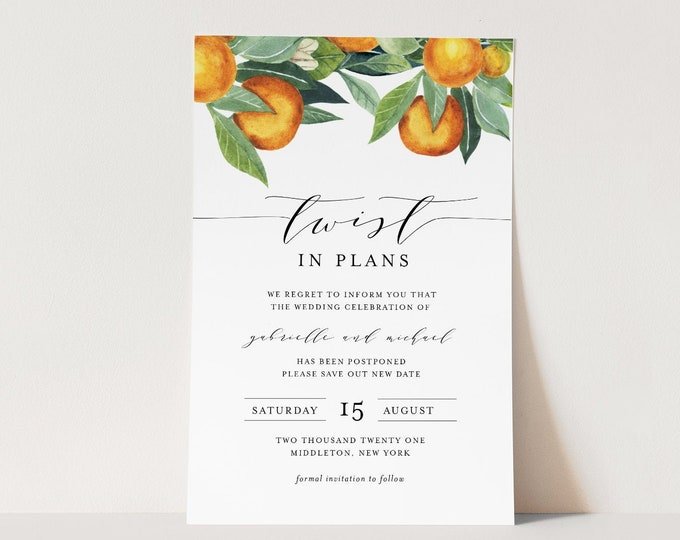 Postponed Announcement, Twist In Plans, Orange Wedding, Printable Change in Plans, Editable Template, Instant Download, Templett #084-123PA