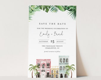 Charleston Save the Date Template, 100% Editable Text, Rainbow Row Wedding Date Card, Templett, Instant Download, Templett #017B-169SD