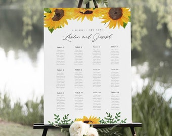 Sunflower Wedding Seating Chart Template, Printable Rustic Seating Sign Poster, 100% Editable Text, Instant Download, Templett #0010-269SC