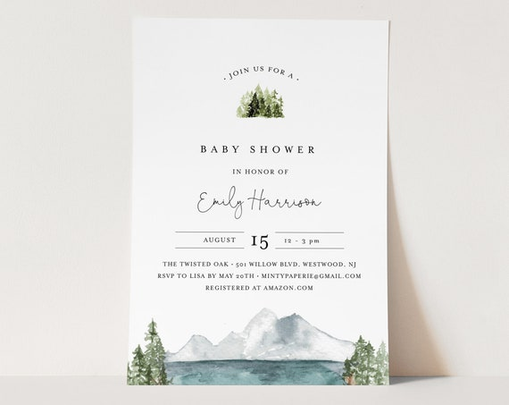 Mountain Baby Shower Invitation Template, Woodland Lake Baby Shower Invite, Gender Neutral, Templett, Instant Download #017A-144BA