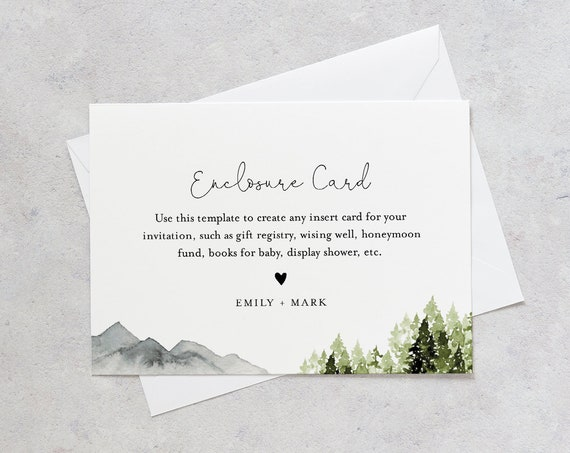 Mountain Pine Enclosure Card, Wedding Invitation Insert, Baby Shower Insert, Editable Details & Info, Instant Download, Templett #017A-153EC
