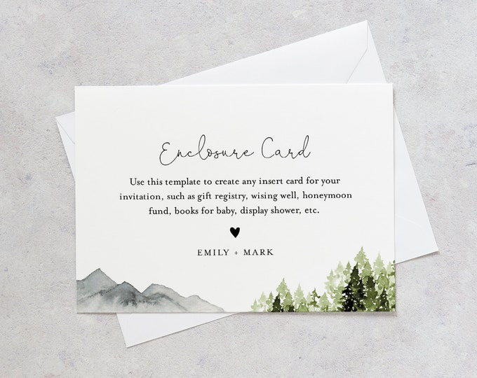 Mountain Pine Enclosure Card, Wedding Invitation Insert, Baby Shower Insert, Editable Details & Info, Instant Download, Templett #017A-153EC