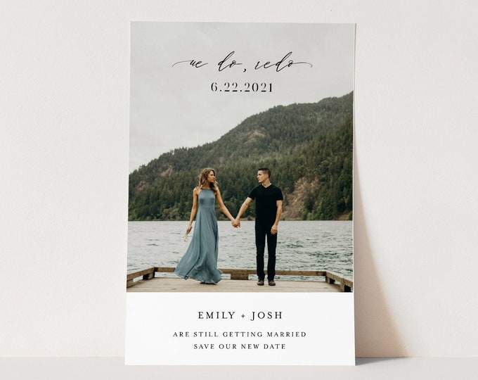 We Do Redo Postponed Wedding Date Postcard, Wedding Reschedule Announcement, Photo Save the Date, 100% Editable, INSTANT DOWNLOAD #115PA