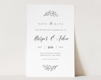 Save the Date Template, Modern Calligraphy, 100% Editable, Minimalist Wedding Date, DIY, Templett, Digital, Instant Download #039-161SD