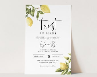 Wedding Postponed Announcement, Twist In Plans, Lemon, Printable Change in Plans, Editable Template, Instant Download, Templett #089-122PA