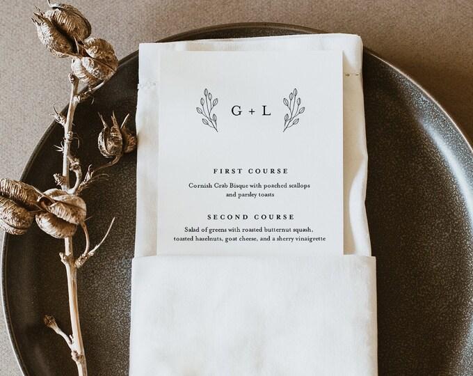 Monogram Menu Template, Printable Modern Minimalist Wedding Dinner Menu Card, 100% Editable, INSTANT DOWNLOAD, Templett #095B-170WM