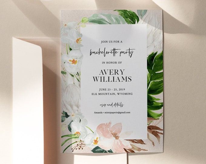 Tropical Bachelorette Party Invitation, Printable Bachelorette Weekend Invite & Itinerary, INSTANT DOWNLOAD, Editable, Templett #079-125BP