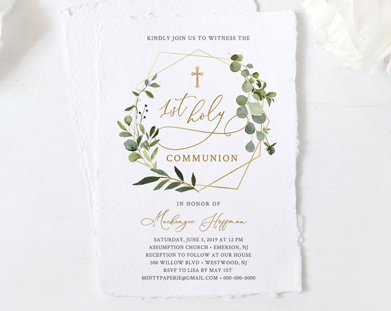 1st Holy Communion Invitation Template, Boy or Girl Holy Communion Invite, 100% Editable Text, INSTANT DOWNLOAD, Templett #056-112BC