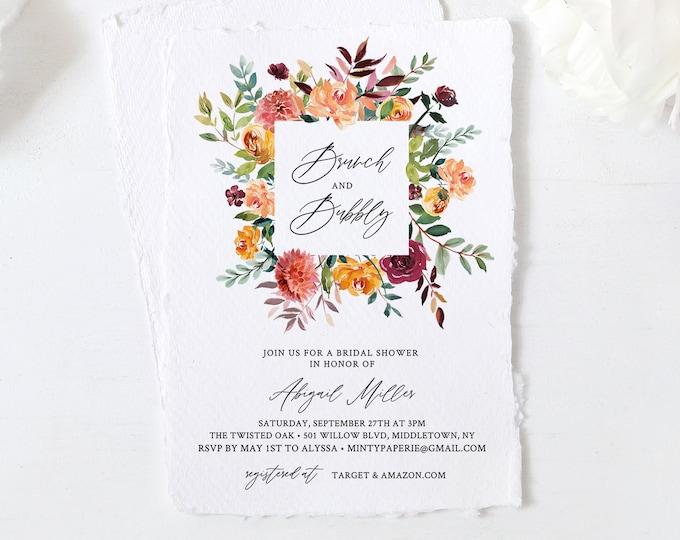 Brunch and Bubbly Bridal Shower Invitation, Summer Garden Bridal Shower Invite Template, Editable, Instant Download, Templett #002-247BS