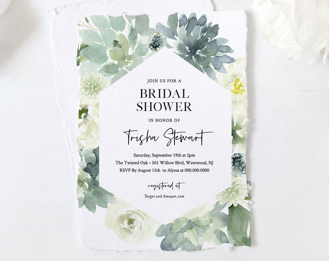 Bridal Shower Invitation Template, Watercolor Succulent Greenery, Wedding, Printable Couples Shower Invite, 100% Editable Text #075-213BS