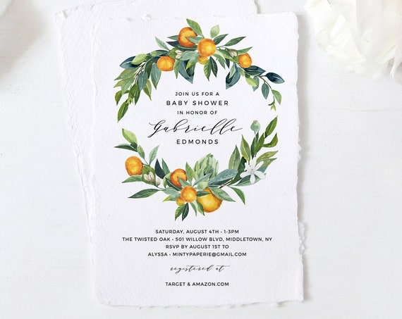Summer Baby Shower Invitation Template, Printable Orange Blossom Baby Shower Invite, Gender Neutral, Templett, INSTANT DOWNLOAD #084-126BA