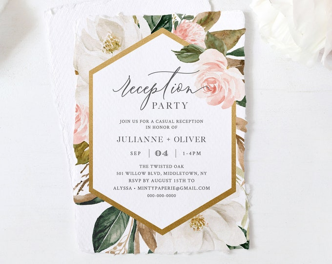 Printable Reception Party Template, Elopement Reception Invitation, Magnolia& Blush Florals, 100% Editable Text, INSTANT DOWNLOAD #015-109WR