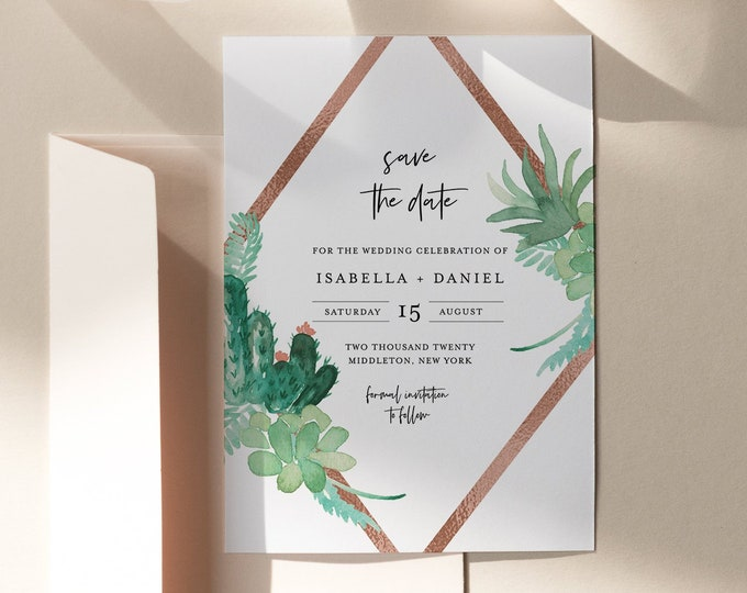 Succulent Save the Date Template, Cactus Wedding Date Printable, Editable Text, Instant Download, Templett, 4x6, 5x7 #086-154SD