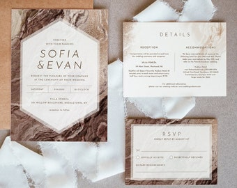 Earthy Agate Wedding Invitation Set, Bronze Gold Geode Wedding Invite, RSVP, Detail, Editable Template, Instant Download, Templett #098B