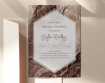 Earthy Agate Shower Invitation Template, Bronze Geode Wedding Shower Invite, Gold, Editable Text, Printable, INSTANT DOWNLOAD #098B-262BS
