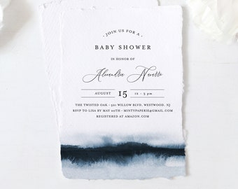 Baby Shower Invitation Template, Printable Boy Baby Shower Invite, Blue Watercolor, Editable, DIY, Templett, INSTANT DOWNLOAD #093A-143BA
