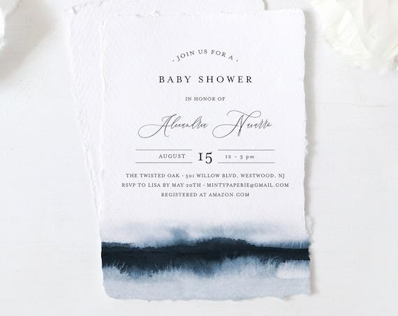 Baby Shower Invitation Template, Printable Boy Baby Shower Invite, Blue Watercolor, Editable, DIY, Templett, INSTANT DOWNLOAD #093-143BA