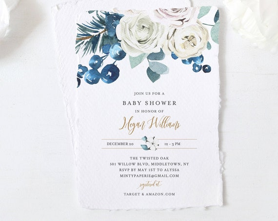 Winter Baby Shower Invitation Template, Editable Holiday Baby Shower, Christmas Shower, Cotton, INSTANT DOWNLOAD, Templett #091-139BA