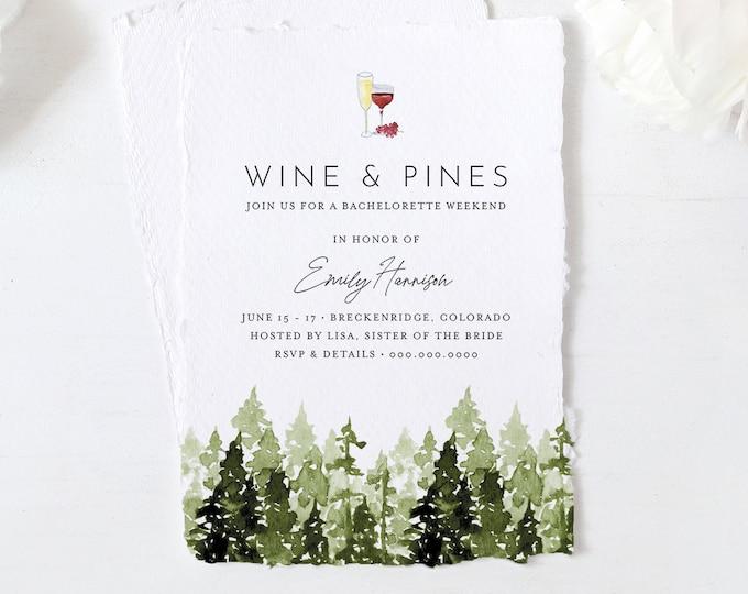 Bachelorette Weekend Invitation & Itinerary, Mountain Retreat, Glamping, Cabin, Lake, Wine + Pines, Editable Template, Printable #017-134BP