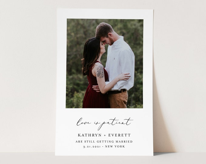 Photo Change of Plans, Postponed Wedding Date Announcement, Love Is Patient, 100% Editable, Instant Download, Templett, 4x6 #045-112PA2