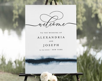 Watercolor Welcome Sign Template, Printable Wedding or Bridal Shower Sign, Instant Download, Editable, Elegant Modern, Templett #093A-192LS