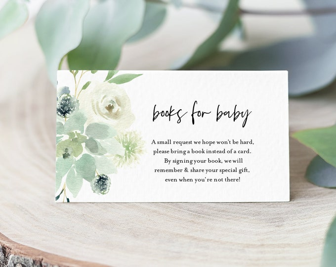 Books for Baby Card, Book Request, Greenery Baby Shower Invitation Book Insert, 100% Editable Text, INSTANT DOWNLOAD, Templett #075-114BFB