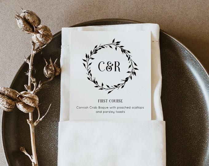 Wedding Menu Card Template, Dinner Menu Printable, Rustic Wreath Monogram Menu Card, Instant Download, 100% Editable, Templett #010-102WM