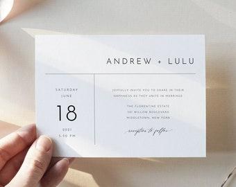 Minimalist Wedding Invitation Set, Simple, Modern, Basic Wedding Invite, RSVP, Detail, Editable Template, Instant Download, Templett #09EB