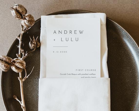 Minimalist Menu Template, Printable Modern & Simple Wedding Dinner Menu Card, 100% Editable, INSTANT DOWNLOAD, Templett #094-169WM